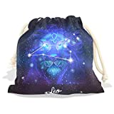 Constellation Zodiac Sign Leo Velvet Drawstring Gift Bag Wrap Present Pouches Favor for Jewelry, Coin, Holiday, Birthday, Party, 12.6X17 Inches