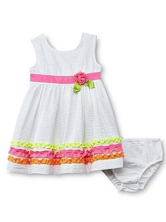 1cf33876e15 Blueberi Boulevard Infant   Toddler Girls White Neon Dress Ruffled Sundress  12m