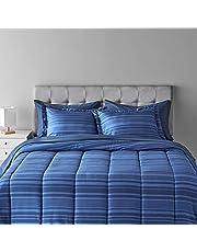 AmazonBasics 7-Piece Bed-In-A-Bag Comforter Bedding Set - Full or Queen, Royal Blue Calvin Stripe, Microfiber, Ultra-Soft
