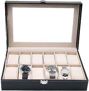 12 Grid Caja De Relojes, Piel Sintética Reloj Caja De Almacenamiento, Exhibición De Organizador De Relojes: Amazon.es: Relojes