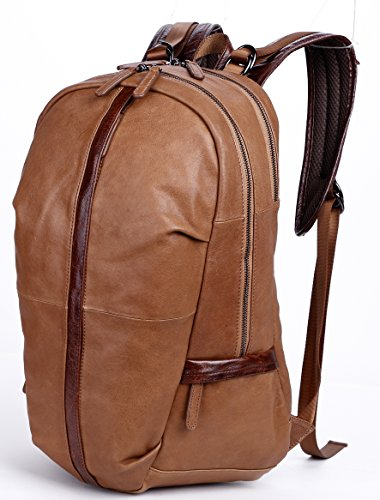 Leather Backpack, Clean Vintage 15.6''/17'' Laptop Computer Bag Large Travel College Business Backpack Rucksack Italian Leather Bags for Men (Brown) by Clean Vintage