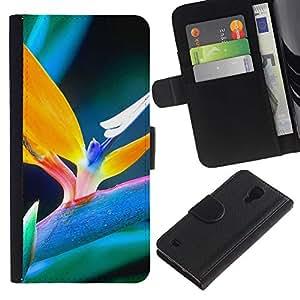 Ihec-Tech / Flip PU Cuero Cover Case para Samsung Galaxy S4 IV I9500 - Spring plant