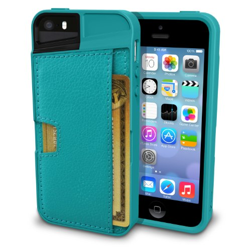 Silk iPhone SE/5s/5 Wallet Case - Q Card Case for iPhone 5 / 5s / SE [Protective CM4 Slim Cover] - Pacific Green by Silk