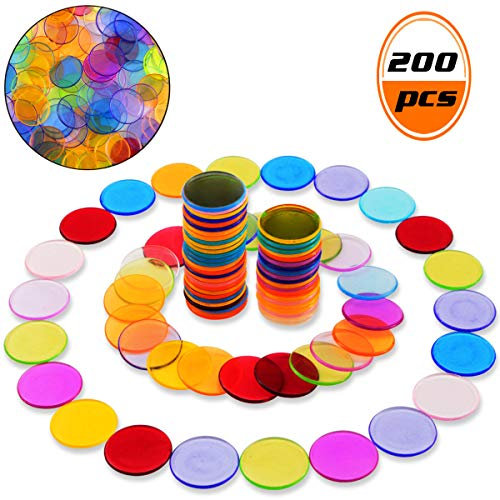 Wpxmer 200 Pcs Transparent Color Counters Plastic Markers