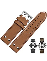 Memery Space Genuine Leather Strap With Double Pin Clasp Hamilton Replacement 22mm (Brwon)