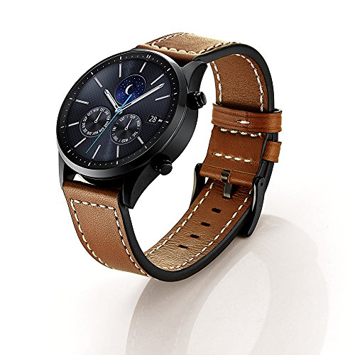Price comparison product image Gear S3 Watch Band, Wollpo Premium Soft Genuine Leather Replacement Gear S3 Bands for Samsung Gear S3 Frontier/Classic Smart Watch (Brown)