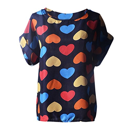 Binmer(TM)New Women Blouses Casual Flower Print Tropical Chiffon Shirts Blusas (S, A)