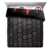 L&M 1 Piece Black Red Marvel Deadpool The Movie Themed Comforter Twin Full, Action Super Hero Dead Pool Face Abstract Motif Bedding, Superhero Villian Ajax Motif Pattern, Grey White, Polyester