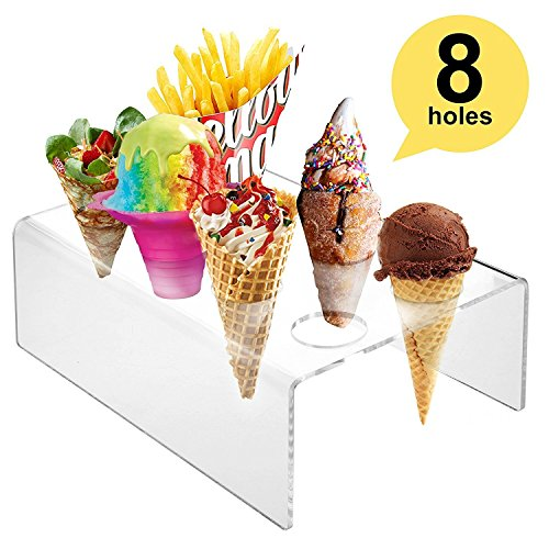 8 Holes Acrylic Mini Ice Cream Waffle Cones Stand Rack to Display Ice Cream Snow Cone Popcorn Candy French Fries Sweets Savory - Ice Cream Recipe eBook Included
