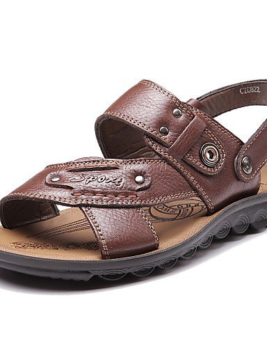 ShangYi Herren Sandaletten Herrenschuhe-Outddor / Lässig-Slippers / Flip-Flops-Wildleder / Stoff-Schwarz / Braun / Gelb Brown