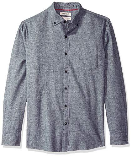 andard-fit Long-Sleeve Heather Flannel Shirt, Navy, Medium ()