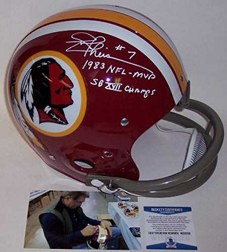 Joe Theismann Autographed Hand Signed Washington Redskins Full Size TK 2-Bar Football Helmet - with 1983 NFL MVP and SB XVII Champs inscriptions - BAS Beckett ()