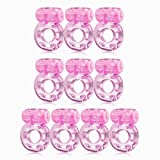Sexy Slave [10-Pack] Butterfly Vibrating Cock Ring - Stretchy Penis Ring - Clitorial Stimulation for Women - Adult Sex Toys for Couples - Pink or Purple