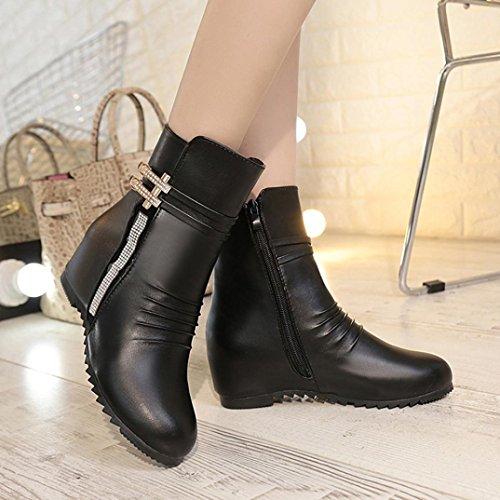 Elevin (tm) Kvinner Mote Sexy Glidelåser Boot Ladys Ankelstøvler Komfortable Skinnstøvler Svart