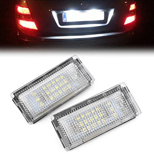 4d 3 Series Led (GZYF Custom Fit Pair 18-LED License Plate Light Lamp for 1998-2005 BMW 3 Series E46 4D Sedan 5D Wagon, 12v)