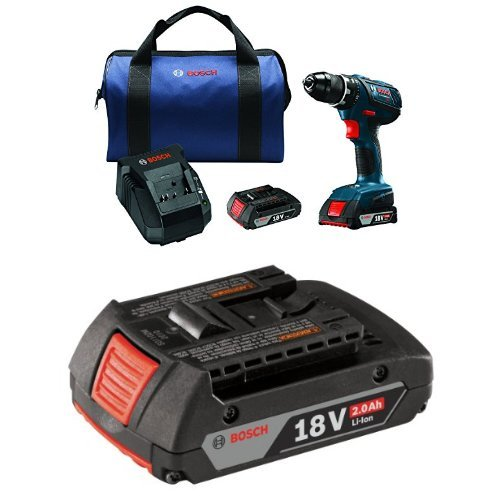 """Bosch DDS181A-02 18V Compact Tough 1/2"""" Drill/Driver Kit with SlimPack Batteries with 2.0 AH battery"""