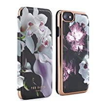 Official TED BAKER® SS16 iPhone 6 / 6S Case for Women, Luxury Folio Case / Cover with Built-In Interior Mirror for Apple iPhone 6 and iPhone 6S - MARIEL - Black
