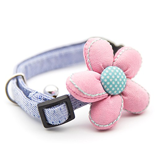 Pinscher Tie (uxcell Hand Made Stereoscopic flower Powderblue&Pink Bowtie Pet Collars Adjustable Necklace for small or medium dogs cats pets boys or girls M)