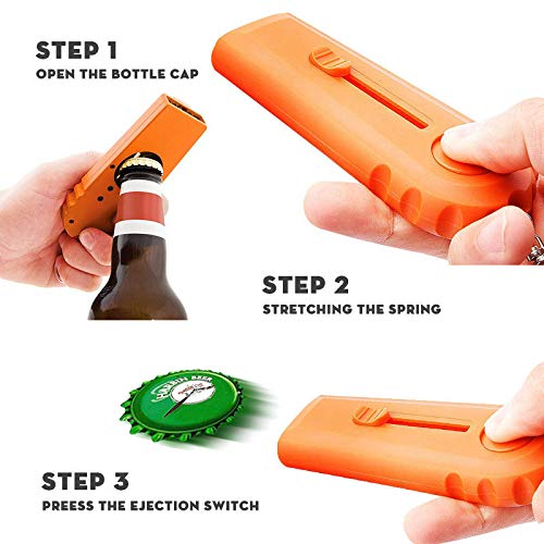 Agile-shop Shooter By Spinning Cap Zappa Bottle Top Opener & Launcher With Keychain