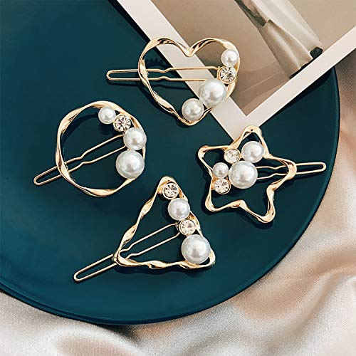 Hair Clip – Metal Hair Clips For Hair Geometric Hairpin Butterfly Clips For Hair Pearl Hair Clips Jewellery Hair Clips Circle Fashion Sweet Suitable For Girl Women Lady