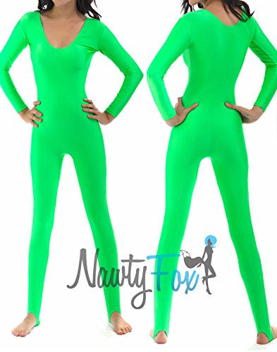 e02b54200e NawtyFox Neon Green Shiny Spandex Scoop Neck Long Sleeve Unitard Dancewear  Bodysuit