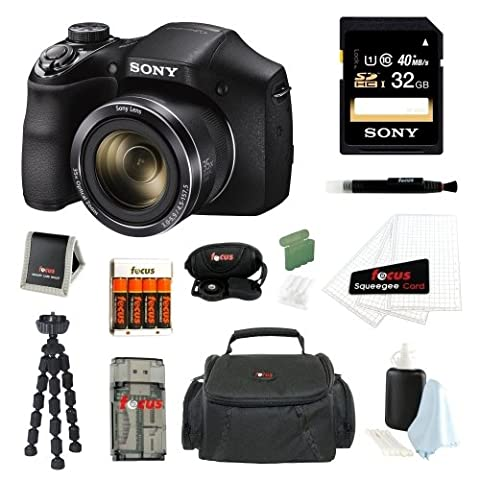Sony DSC-H300/B DSCH300B H300 20.1MP with 35x Optical Zoom and 3-inch LCD + Sony 32GB SDHC + Focus AA Batteries w/ Charger + Focus Camera Case with Accessory - Black And White Sweep