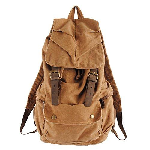 Los hombres y las mujeres bolsa de hombro mochila estudiante bolsa de lona ocio bolsa de viaje, dark gray caqui