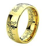 Titanium Comfort Fit Wedding Band Ring 8mm Tibetan Mantra Om Mani Padme Hum Engraved Yellow Tone Ring