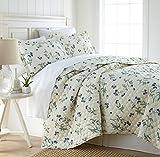 quilt only - Southshore Fine Linens - BRITEYARN - Myosotis Scorpiodes Print - 300 Thread Count 100% Cotton, 2-Piece Quilt Set, Twin / Twin XL, Off-White