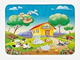 Lunarable Animal Bath Mat, Cute Farm House Scenery with Full of Chicken Rabbit Dogs Cat Funny Cartoon Kids Art, Plush Bathroom Decor Mat with Non Slip Backing, 29.5 W X 17.5 W Inches, Multicolor