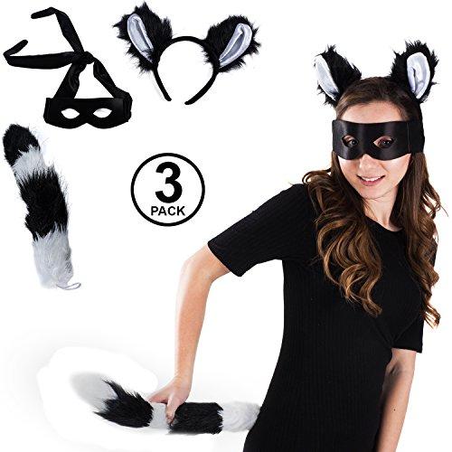 Funny Party Hats Lemur Costume - 3 Pc Set - Skunk Costume - Dress Up - Raccoon Costume ()