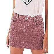 TWGONE Corduroy Button Front Mini Skirt Women Summer Slim High Waist Pencil Short Mini Skirt