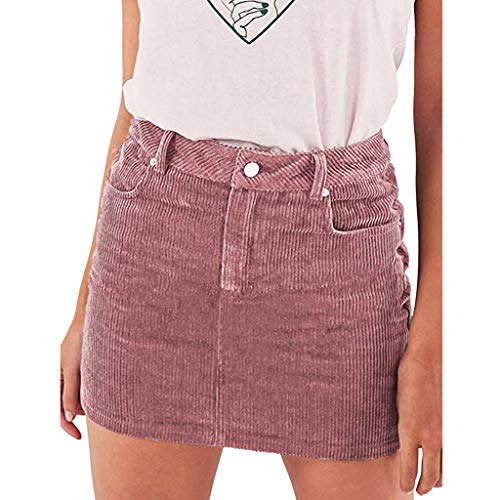 Sunhusing Womens Solid Color Corduroy Ultra-Short Skirt Comfortable High Waist Line Mini A-Line Skirt Pink