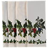 Christmas Portmeirion Holly And Ivy Fabric Holiday Tablecloth, 70 Inch Round