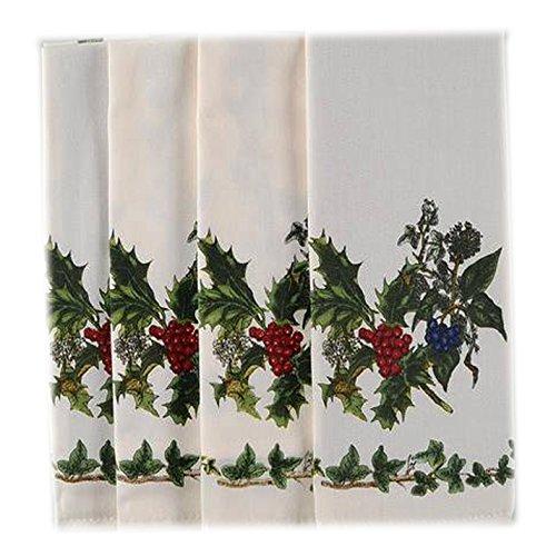 Christmas Portmeirion Holly And Ivy Fabric Holiday Napkin Set, 4 Piece Napkin Set