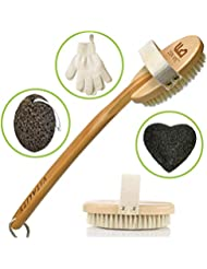 Premium Dry Brushing Body Brush for Lymphatic Drainage and Cellulite Treatment, Plastic-Free Natural Exfoliating Brush Set with Scrub Gloves, Konjac Sponge, Pumice Stone for Glowing More Youthful Skin