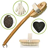 skin brush for body - Premium Dry Brushing Body Brush for Lymphatic Drainage and Cellulite Treatment, Plastic-Free Natural Exfoliating Brush Set with Scrub Gloves, Konjac Sponge, Pumice Stone for Glowing More Youthful Skin