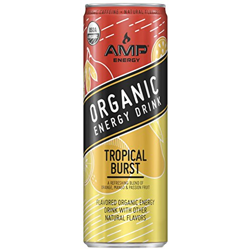 Amp Energy  Organic Energy Drink  Tropical Burst  12 Oz Cans  12 Pack