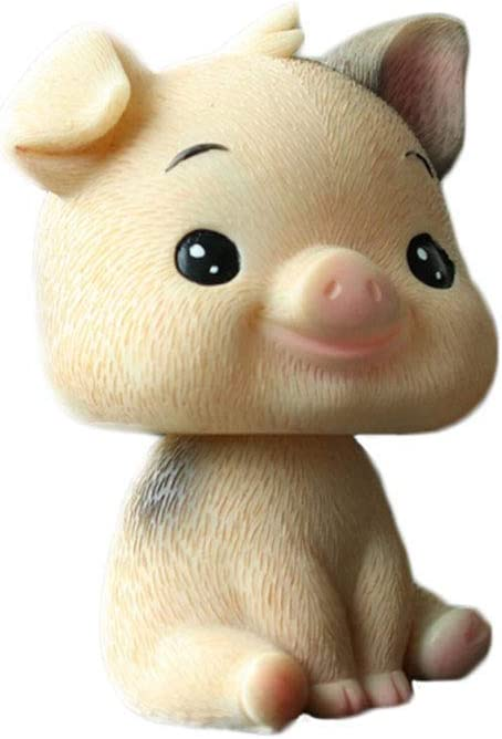 TUSFTAY Mini Shaking Head Smile Pig Toys Bobblehead Ornament for Home Office Car Vehicle Decoration (Coffee)