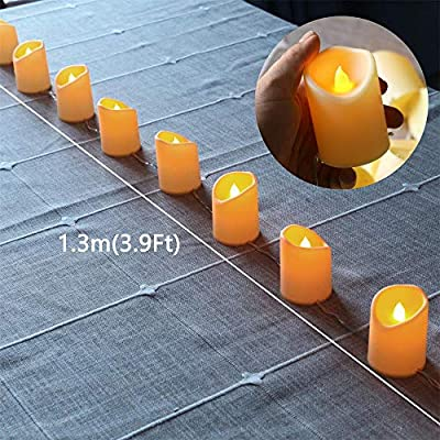 YXYQR Flameless Candles Fairy String Lights USB Plug in Design 4.9FT 10leds Flickering Candles for Bedroom Home Indoor Living Room Table Fireplace Decoration (Extendable): Home Improvement