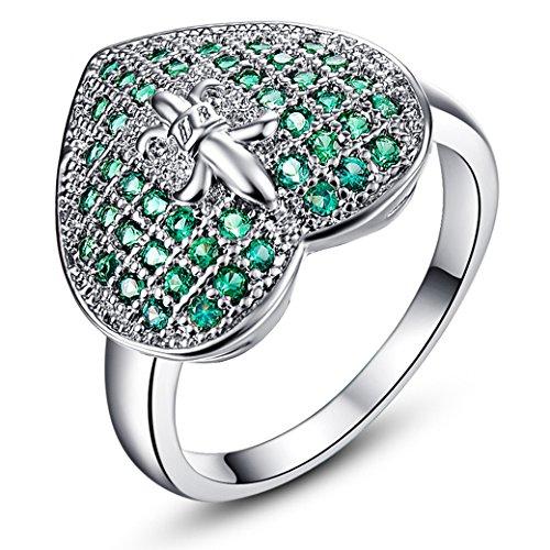 (Narica Womens Brilliant Round Cut Heart Shaped Emerald Quartz CZ Engagement Ring Band)