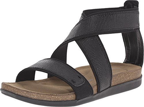 Rockport Women's Total Motion Romilly Back Zip Sandal Black Lizard 6 M