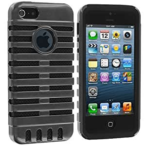 Accessory Planet(TM) Gray / Black Hybrid Rugged Deluxe Hard Exterior Soft Interior Case Cover for Apple iPhone 5 / 5S