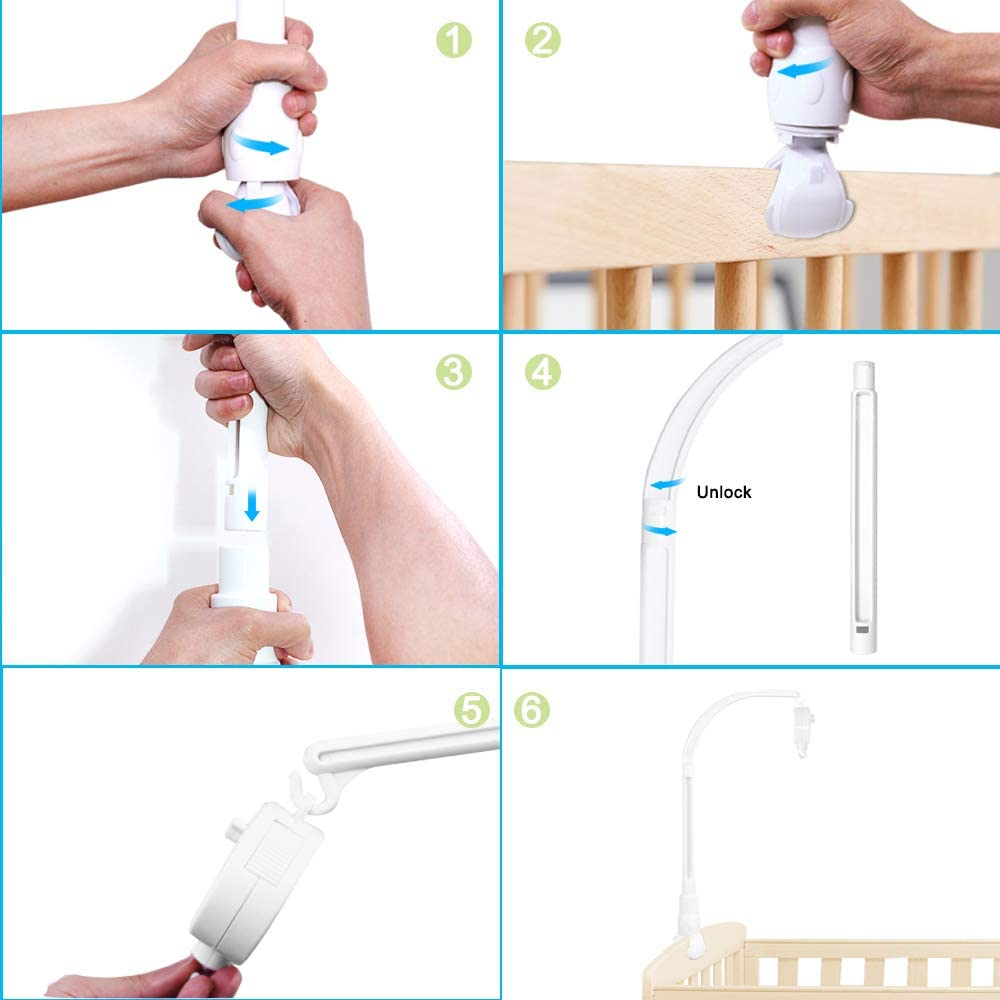 Adjustable Holder DIY Toy Decoration Hanging Arm Bracket Baby Bed Stent Set Nut Screw AFUNTA 23 Inch Baby Crib Claw Mobile Bed Bell Holder with Music Box