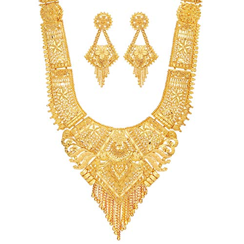 Mansiyaorange Party Collection Jewellery Neckalce Sets for Women (One Gram Golden 9 Inch Long)