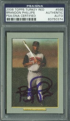 Reds Brandon Phillips Signed Card 2006 Topps Turkey Red #566 PSA/DNA -
