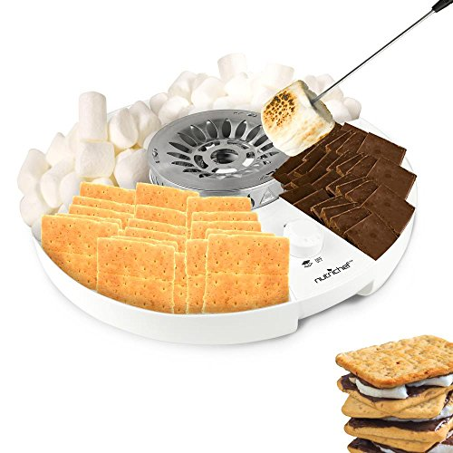 NutriChef S'mores Maker Station Set - Electric Marshmallow Candy Melter Machine Kit with Flameless Burner and Temperature Control for Kids Campfire, Indoor Parties and Outdoor Activities(PKSMGM26)