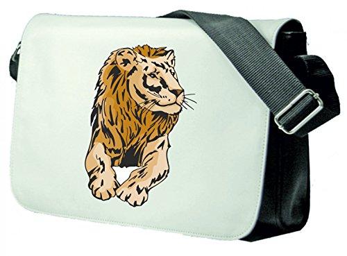 Schultertasche Löwe liegt schaut Wildnis Dschungel Afrika Raubtier Schultasche, Schulanfang Schwarz