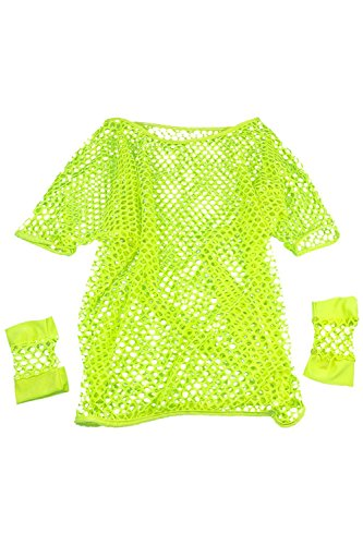SODIAL(R)SHIP 80s Fancy Dress Mesh Top and Short Mesh Gloves Various Neon Colours-Yellow (80s Womens Fancy Dress)