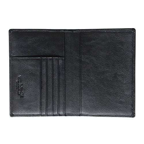 Custodia passaporto / porta passaporto da uomo e donna di Walden. Organizer per documenti da viaggio, elegante e con sicurezza blocca RFID in pelle sintetica nera e 4 aperture per carta di credito.